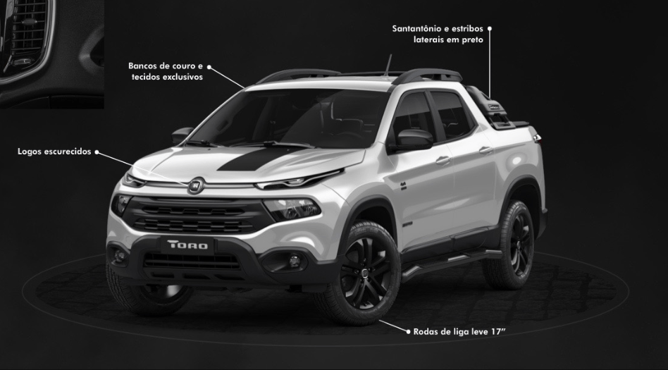 Fiat Toro Freedom, versão Diesel, com S-Design